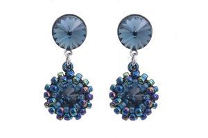 Kolczyki sztyfty rivoli denim blue koralikowe - 2861153636