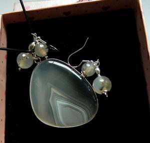 Szaro-beżowe agaty w srebrnej oprawie, zestaw - 2906361631
