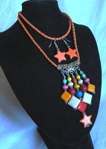 Kolorowy wisior z kamieniami i kolczyki - 2861158027