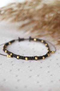 Czarne pleciona bransoletka z kuleczkami - 2861150334