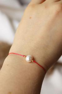 Czerwona bransoletka z per - 2861150341