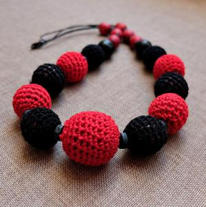 Korale czerwono-czarne - 2861148568