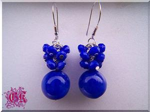 kolczyki - niebieskie gronka - 2861151656