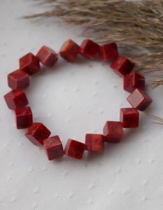 Bransoletka z kostek korala czerwonego - 2864002844