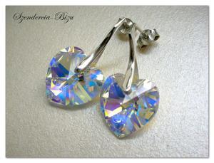 Kolczyki Swarovski Elements Heart 14 mm Crystal AB - 2846536750