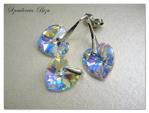 Komplet Swarovski Heart 14 mm Crystal AB - 2846536752