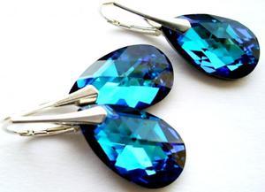 Piekny komplet Swarovski bermuda blue srebro - 2856453643