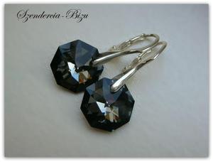 Kolczyki Swarovski Crystal Octagon Silver Night - 2827484287