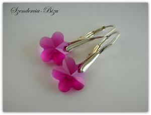 Kolczyki Swarovski Elements Flower Fuchsia 12mm - 2827485027