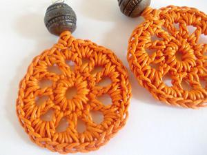Kolczyki wiszące koła ażurowe - pomarańcz i brąz - 2827488903