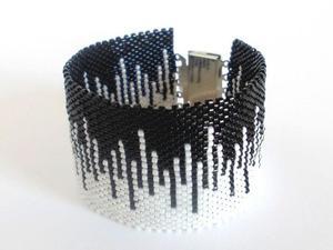 Skyline - black and white - koralikowa bransoletka - 2827490499