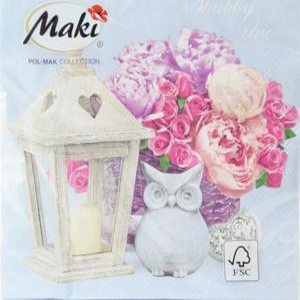 Serwetki Love Shabby chic (20szt) Błękitne serwetki- kwiaty, latarnia, sowa - 2853841079