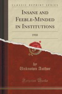 Insane And Feeble-minded In Institutions - 2854820554