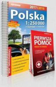 Polska Atlas Samochodowy 1:250 000 + Pierwsza Pomoc - Krok Po Kroku - Ilustrowana Instrukcja - 2846957862