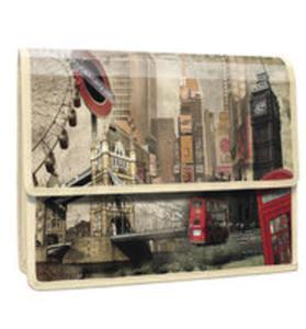 London Teczka Z Klapką Na Rzepy Z Nadrukiem A4 Pp - 2857248032