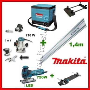 RT0700CX2 + 4351FCT + 194368-5 + 194579-2 frezarka - wycinarka - przecinarka (3 przystawki) + szyna, prowadnica 1,4 m + adapter do prowadnicy, szyny do frezarki + adapter do prowadnicy, szyny do wyrzynarki Makita - 2825390771