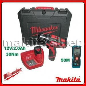 M12BDD-202C + LD050P WIERTARKA WKRĘTARKA Li-Ion w tym 2 x aku 2Ah12V Milwaukee + MIERNIK-DALMIERZ LASEROWY MAKITA (M 12 BDD 202 C + LD 050 P) - 2825390975