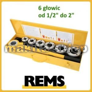 """520017 Gwintownica ręczna REMS Eva Set R z 6-oma głowicami od 1/2"""" do 2"""" w skrzynce z blachy - 2825392885"""