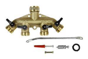 Mosiężny rozdzielacz (adapter) 4-drożny z zaworami 3/4'' X6YB Khayer - 2849874449