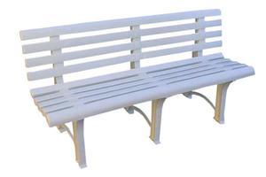 Solidna plastikowa ławka ogrodowa ATENA z oparciem - biała - 2848582467