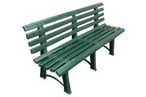 Solidna plastikowa ławka ogrodowa ATENA z oparciem - zielona - 2875302010