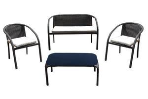 Zestaw mebli rattanowych Dominikana 1 sofa + 2 fotele + stolik JLZ784 - 2876151845