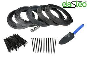 Obrzeże trawnikowe ogrodowe czarne 40mm x 50m Elasteo + 150 kotew + GRATIS - 50m + 150 kotew - 2876579919