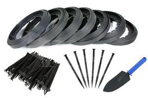 Obrzeże trawnikowe ogrodowe czarne 40mm x 70m Elasteo + 210 kotew + GRATIS - 70m + 210 kotew - 2876579937