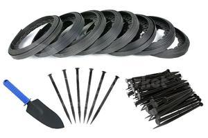Obrzeże trawnikowe ogrodowe czarne 40mm x 80m Elasteo + 240 kotew + GRATIS - 80m + 240 kotew - 2876579938