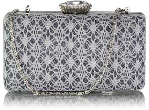 Szaro-popielata koronkowa torebka wizytowa brokatowa - szary || srebrny - 2850962599