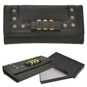 Czarny portfel damski ze złotymi ozdobami - czarny - 2831082238