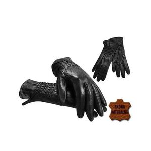 Czarne rękawiczki z naturalnej skóry - 2841674551