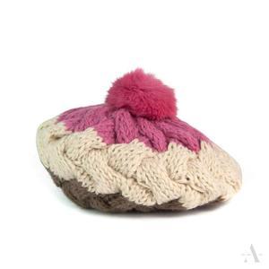 Pleciony beret damski czapka z pomponem z futra królika - różówy || kremowy || écru || brązowy - 2857508626