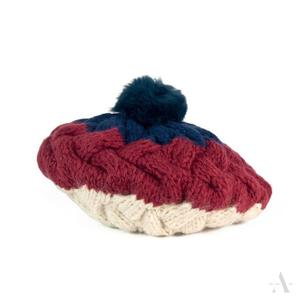 Beret damski czapka pleciona z pomponem z futra królika - granatowy    czerwony    bordowy    écru    kremowy - 2857508627