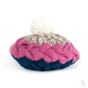 Pleciony kolorowy beret damski czapka z pomponem z futra królika - granatowy   ...