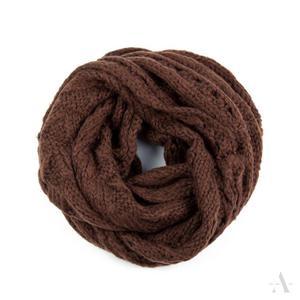 Moherkowy ażurowy komin szalik damski w kolorze brązu - brązowy - 2857923002