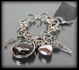 Srebrna bransoletka z charmsami - 2835897001