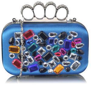 Niebieska torebka wizytowa szkatułka z kolorowymi kryształkami - niebieski || kolorowy - 2855306805