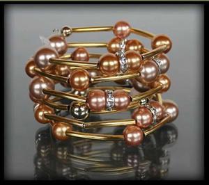 Złota bransoletka z pereł w dwóch kolorach - złoty || różowy - 2831082585