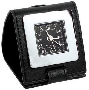 Zegar z budzikiem w etui skórzanym - 2255949568
