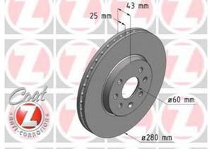 Tarcze hamulcowe przednie Astra H - 280 mm Zimmerman GmbH - 4 śruby - 2823257449