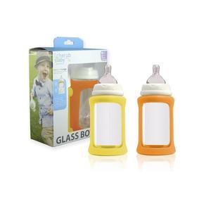 Zestaw 2 szklanych eko-butelek 240ml Yellow-Orange - 2858115479