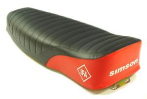 Siedzenie SIMSON S51 pikowane czarno-czerwone (napis SIMSON IFA) - 2874130238