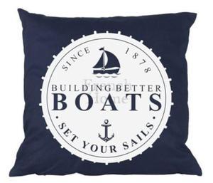 Poduszka marynistyczna Boats granatowa - 2824140361