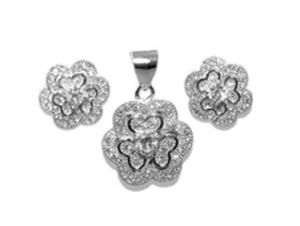 Srebrny komplet kwiaty z cyrkoniami YES VERONA - 2833273200