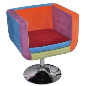 Tapicerowany klubowy fotel patchworkowy - Brick - 2860430305