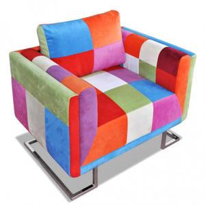 Klubowy fotel patchwork z chromowan - 2860430307