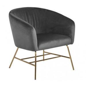 Szary welurowy fotel wypoczynkowy - Nerra 3X - 2860430828