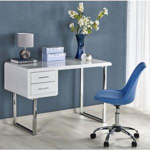 Lakierowane biurko Dergo - biały połysk - 2853744372