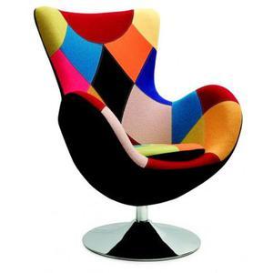 Obrotowy fotel uszak wypoczynkowy Zoltis - patchwork - 2850944398